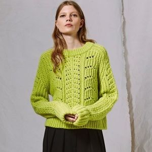 Topshop Boutique Neon Green Cable Knit Sweater